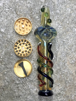 "7"" Best Steam Roller Hand/Spoon Pipe, Handmade in Heavy Glass with Pipe Bowl & 3-Part Grinder - Colors & Size Can Vary"