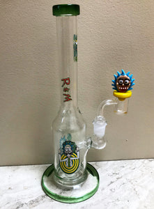 "10"" Thick Glass Rig Shower Perc Rick & Morty Design Quartz Banger w/Carb Cap"