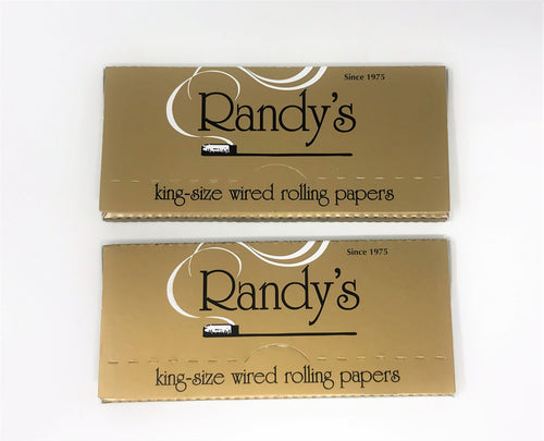 Randy's Gold Wired Rolling Papers King Size - 2 Packs, 100% Organic (48 leaves)
