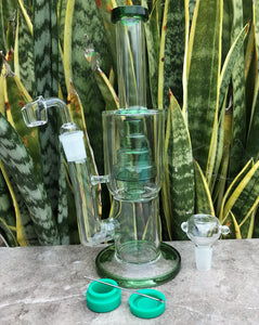 "10.5"" Thick Glass Water Rig Perc with 18mm Male, Quartz Banger, Tool & Container - Grass Green"
