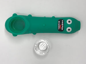"Pickle Rick Silicone 5"" Hand Pipe Glass Screen Bowl Rick and Morty"