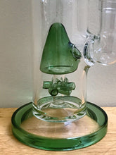"16"" Double Zong, Thick Glass Water Rig in Jade Color with Quartz Banger, Slide Bowl, Pop Top Container & Xtras"