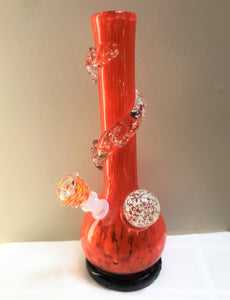 "Orange Delight Thick Heavy Soft Glass 13"" Bong Glow in the Dark w/14mm Bowl"