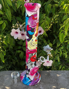 "14"" Colorful Silicone Straight Bong with Ice Catcher, Clear Diamond Bowl + Slide Bowl"