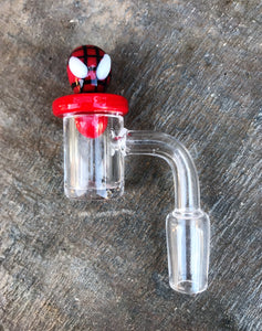 100% Super Thick 14mm Male Quartz Banger with Decorative Spider Man Carb Cap