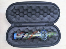 "Unique! 7.5"" Hand Blown, Thick Glass Tobacco Steam Roller Pipe with Zipper Padded Case"