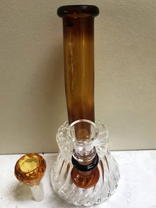 "8"" Swirl Glass Beaker Shower Best Rig Diamond Glass Bowl + Extra Bowl - Volo Smoke and Vape"