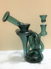 "Thick Green Glass 6.5"" Water Recycler Rig 14mm Male Slide Bowl"