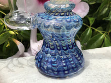 "New! 6"" Mini Fumed Glass Water Rig 14mm Male Slide Bowl - Blue Swirl"