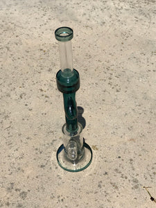"15"" Double Zong Thick Glass Water Rig Glass Connector 18mm to 14mm Bowl w/Screen - Forest"