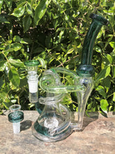 "New! 9"" Best Thick Glass, Water Recycler Rig/Shower Perc. & 2-14mm Male Slide Bowls"