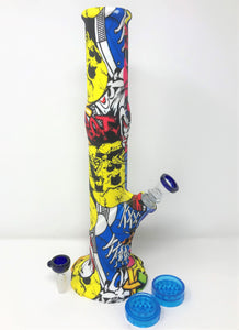 "14"" Printed Graphics Detachable Silicone Unbreakable Best Bong & Bonus Extras!"