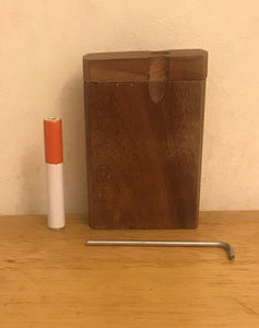 "3"" Raw Natural Inlaid Wood with Swivel Top Stash Box, Metal Rod & Cleaning Tool"