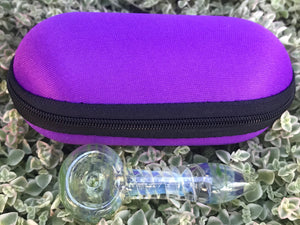 "3"" Mini Best Glass Hand Pipe Dichro Swirl with 5"" Zipper Padded Pouch - Violet - Volo Smoke and Vape"