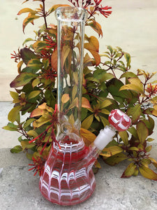 "12"" Thick Glass, Red & White Swirl, Beaker Water Bong with Ice Catcher & Glass-on-Glass Downstem + 14mm Male  Bowl"