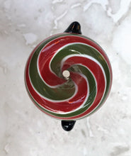 14MM Male Glass Bowl Green, Red, White Swirl with 2 Notches