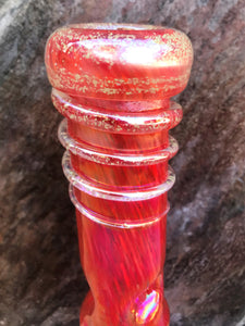 "12"" Red Hot Red, Thick Soft Glass Bong that Glows in the Dark & 2 - 14mm Male Slide Bowls"