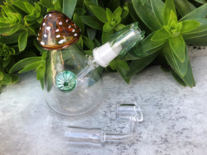 "4.5"" Mushroom Glass Water Rig with Implosion 14mm Female Quartz Banger & Bowl"