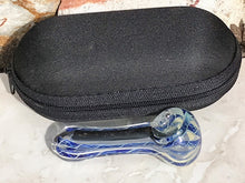 "New! 2.5"" Mini Glass Spoon Pipe Handmade in Blue w/Black Dicro Stripe"
