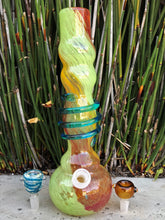 "Best! 12"" Thick Soft Glass Water Bong w/ Glass on Glass + 2 Herb Bowl Sliders"