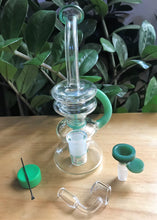 "8"" Recycler with Shower Perc Bong in Jade Green & 2 -14mm Male Thick Bowls, Container + Tool"