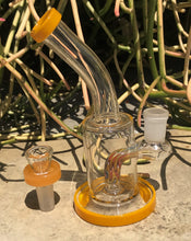 "New! 6"" Water Rig with Colored Shower Perc 14mm Herb Bowl"