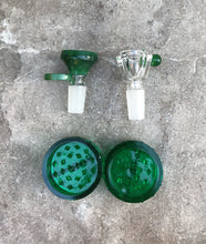 "12"" Transparent Green Thick Soft Glass Bong w/glow in the dark Bowls Grinder"
