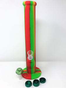 "New 14"" Rasta Silicone Straight Bong 2 Herb Bowls Grinder"