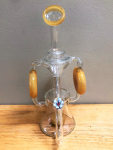 "Collectible 9.5"" Thick Glass Shower Perc Recycle Rig w/Glass Flower Thick Bowl"