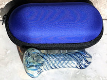 "3.5"" Spoon Pipe Fumed Thick Glass Blue Swirl Zipper Padded Hard Case - Blue"