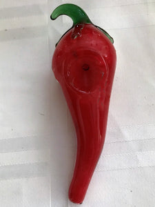 "Collectible 6"" Red Chili Pepper Glass Best Hand Pipe w/ Zipper Padded Hard Case - Volo Smoke and Vape"