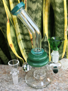 "Bent Neck 7"" Glass Best Shower Water Bong Implosion 2 Herb Bowls - Volo Smoke and Vape"