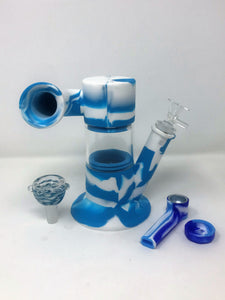 "Silicone Detachable 9"" Bong w/Glass 2-14mm Bowls Silicone inline Perc Hand Pipe"