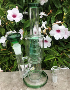"10.5"" Thick Glass Water Rig Perc. Large Green Diamond Bowl + Bowl"