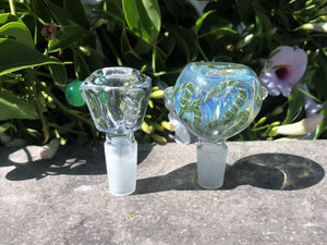 "Beautiful 16"" Heavy Thick Soft Glass Bong with Plastic Grinder & 2 -14mm Slide Bowls - All Lime"