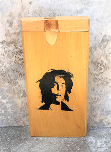 "4"" Bob Marlee Image - Swivel Cap Wood Dugout/Stash Box with One Hitter & Rolling Papers"