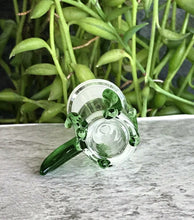 Thick Glass 14mm Female Slide Bowl with Green Horn Handle