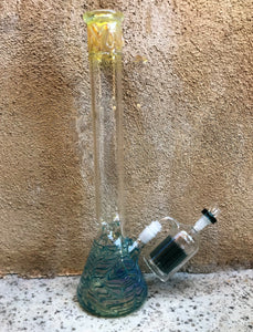 "18"" Fumed Glass Beaker Bong w/Ice Catchers, 11 Arm Ash Catcher & 14mm Bowl - Sheer Elegance"