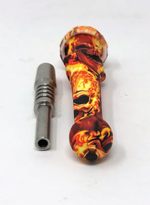 "Best 7"" Silicone Honey Straw with Titanium Tip Fire Skull Design"