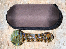 "Thick Glass 3.5"" Handmade Fumed Glass Spoon Hand Pipe Zipper Padded Case"