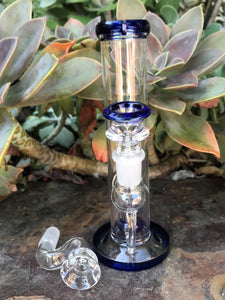 "Best 7"" Straight Thick Glass Rig/Pipe with Shower Perc, Ice Catcher & 2-Male Slide Bowls"