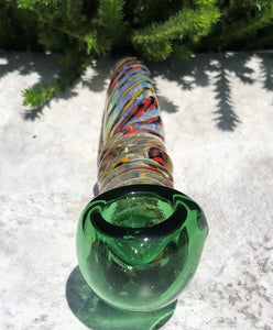 "New! 7"" Thick Fumed Glass Sherlock Hand Pipe Swirl Glass Blue Bowl"