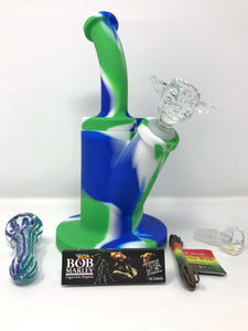 "Detachable Silicone Bong 9.5"" Best Yoda Herb Bowl Hand Pipe Color Vary Hemp Wick - Volo Smoke and Vape"