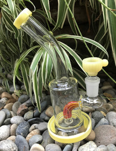 "New! 6"" Water Rig with Colored Shower Perc 14mm Herb Bowl - Mellow Yellow"