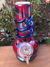 "New! 8"" Fire Red Best Soft Glass Water Bong Collectible Slide in Stem Fumed Bowl"