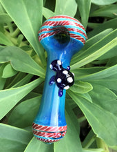 "4"" Thick Glass Spoon Hand Pipe Dicro Red & Royal with Turtle Design"