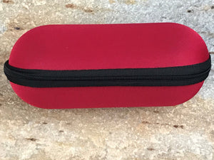 "6.5"" Red Padded Pouch Hard Carry Case Protective Smoking Pipe Storage Zipper - Volo Smoke and Vape"