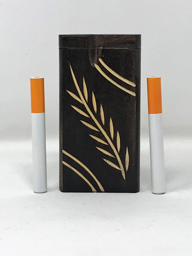 Dark Quality Wood Best Dugout with 2 x Aluminum Pipes - Volo Smoke and Vape