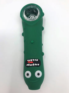 "5"" Rick and Morty Pickle Rick Silicone Hand Pipe Glass Screen Bowl Dark Green - Volo Smoke and Vape"
