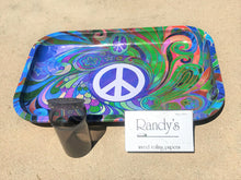 "11"" x 7"" Colorful Peace Sign Design Metal Rolling Tray w/Silicone Container & Randy's Wired Paper"